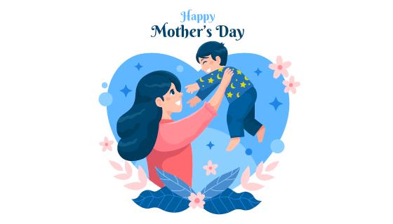 妈妈高举着孩子设计母亲节矢量素材(AI/EPS)