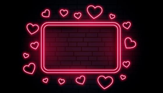 红色爱心霓虹灯留言板矢量素材(EPS)