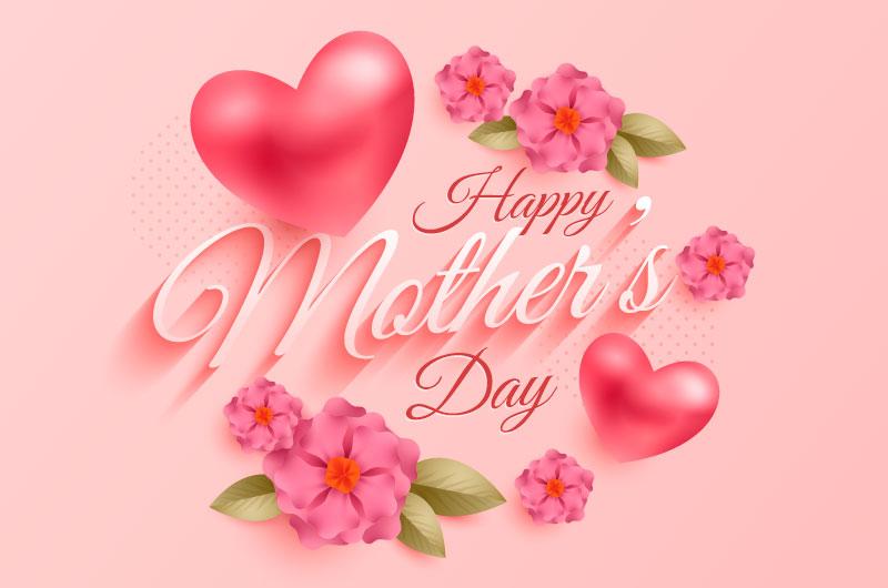 花朵和爱心设计母亲节快乐矢量素材(AI/EPS)