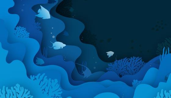 蓝色层叠的世界海洋日矢量素材(AI/EPS)