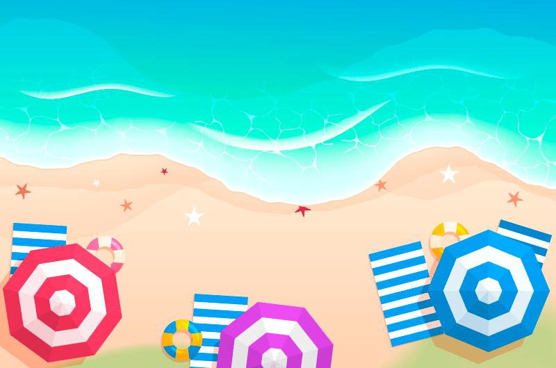俯视夏季海滩景色矢量素材(AI/EPS)