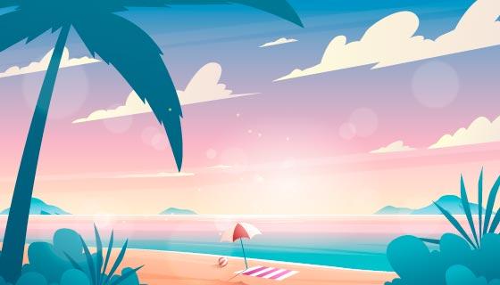 夏季海滩景色背景矢量素材(AI/EPS)