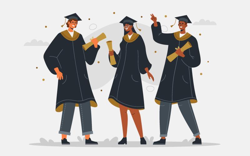 开心的毕业生插画矢量素材(AI/EPS)
