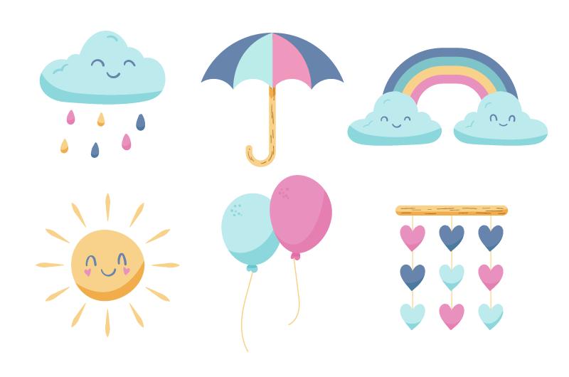 手绘可爱的太阳云朵等元素矢量素材(AI/EPS/免扣PNG)