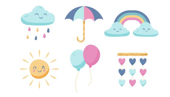 手绘可爱的太阳云朵等元素矢量素材(AI/EPS/PNG)
