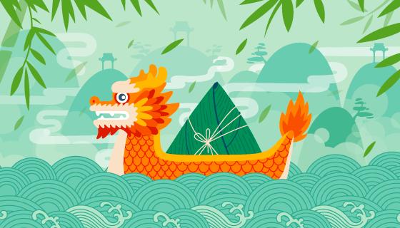 载着粽子的龙舟端午节矢量素材(AI/EPS)
