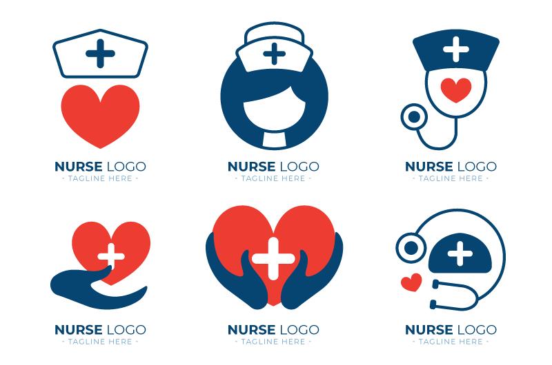 六个扁平风格的医疗类logo矢量素材(AI/EPS)