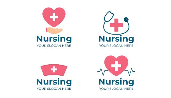 四个扁平风格的医疗类logo矢量素材(AI/EPS/PNG)