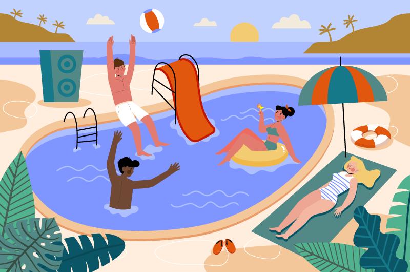 享受夏天的人们矢量素材(AI/EPS)