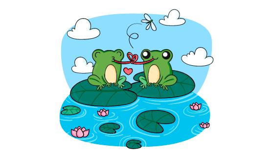 荷叶上示爱的青蛙矢量素材(AI/EPS)