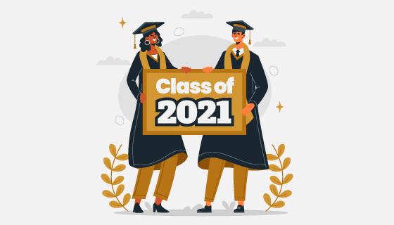 2021大学毕业典礼矢量素材(AI/EPS)