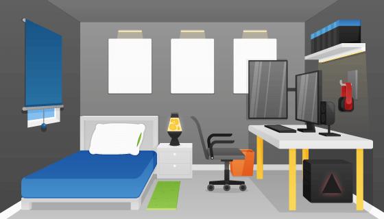 扁平风格的卧室矢量素材(AI/EPS)