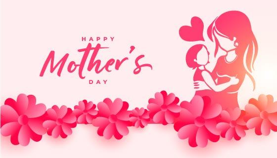 母子活动设计母亲节矢量素材(EPS)