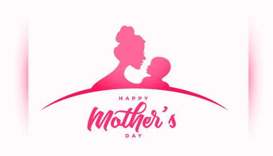 母子轮廓设计母亲节矢量素材(EPS)