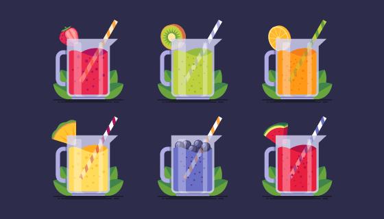 六种水果果汁矢量素材(AI/EPS/PNG)