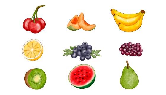 九种手绘水彩风格水果矢量素材(AI/EPS/PNG)