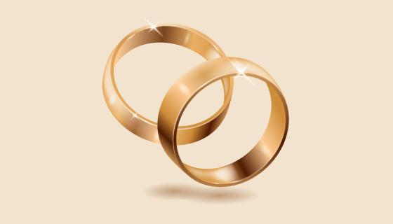 逼真的金色结婚戒指矢量素材(AI/EPS)