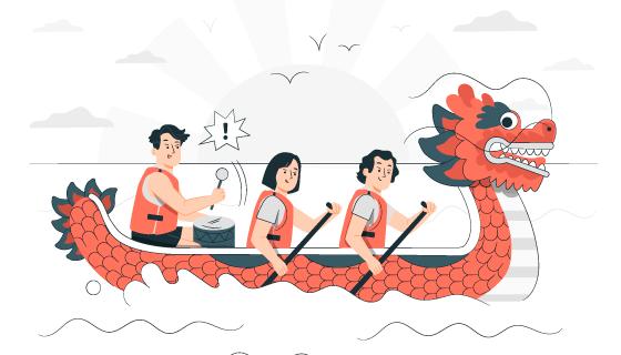 端午节划龙舟的人们矢量素材(AI/EPS)