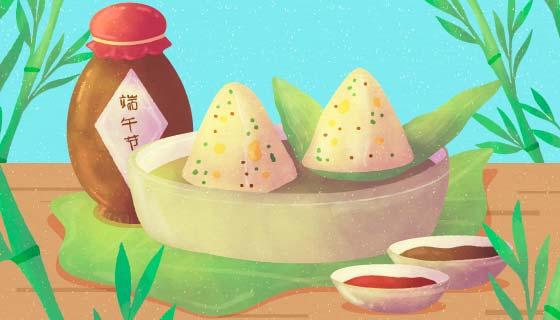 水彩风格的美味粽子矢量素材(AI/EPS)