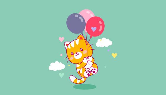 被气球带起来的猫咪矢量素材(EPS)