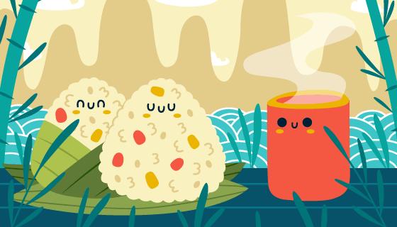 美味可爱的粽子矢量素材(AI/EPS)
