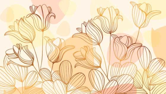渐变的金色花朵矢量素材(AI/EPS)