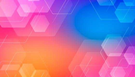 渐变多彩的六边形背景矢量素材(AI/EPS)