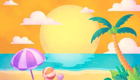 水彩风格夏日海滩背景矢量素材(AI/EPS)