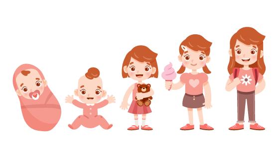 从婴儿到女孩的成长示意图矢量素材(AI/EPS/PNG)