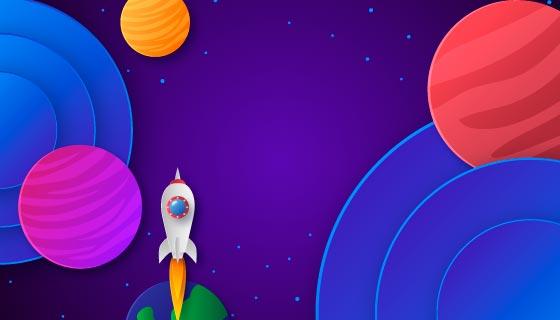 多彩卡通的银河太空背景矢量素材(AI/EPS)