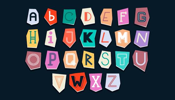 创意英文字母卡片矢量素材(AI/EPS)