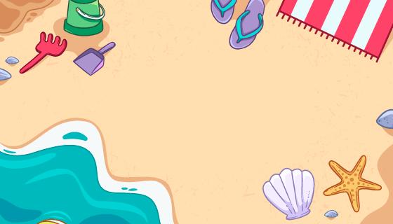 手绘夏季海滩背景矢量素材(AI/EPS)