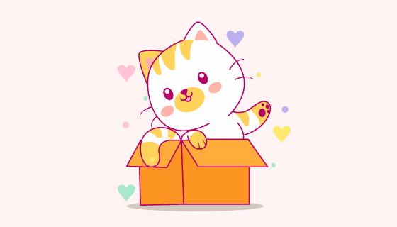 纸箱里爬出来的小猫矢量素材(EPS)