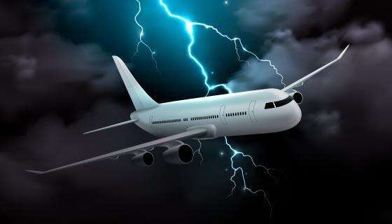 雷雨闪电中的飞机矢量素材(EPS)