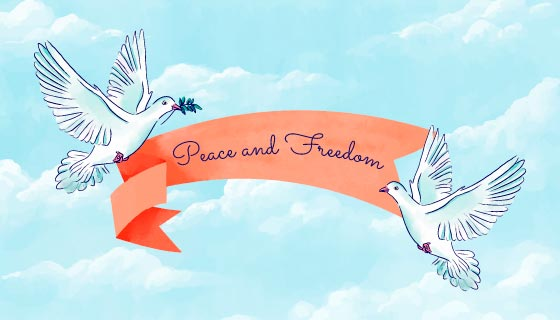 鸽子设计和平自由背景矢量素材(AI/EPS)