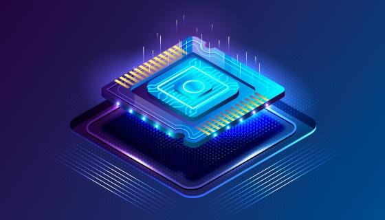 逼真的高科技芯片背景矢量素材(AI/EPS)