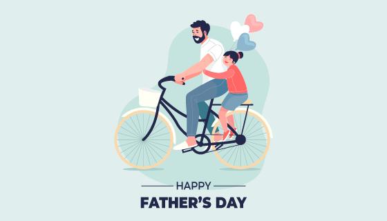 骑自行车载着女儿的父亲矢量素材(AI/EPS)