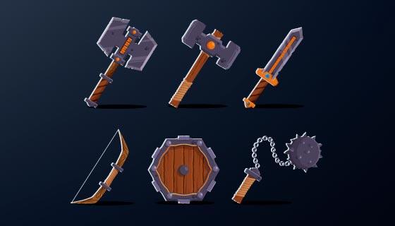 六个游戏装备矢量素材(EPS)
