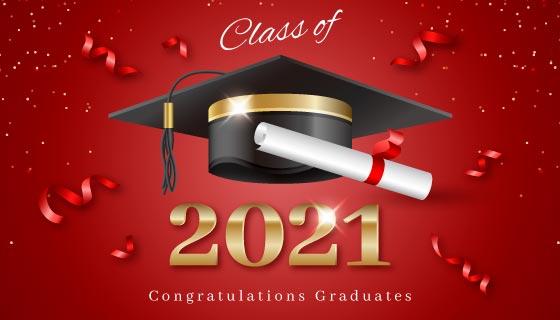 学士帽和学位证书设计2021毕业背景矢量素材(AI/EPS)