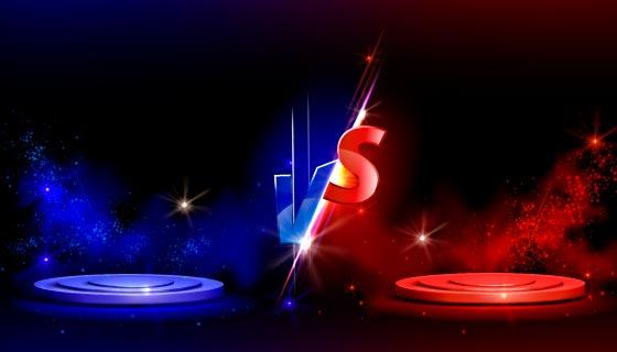 红蓝双方对抗VS银幕背景矢量素材(EPS)