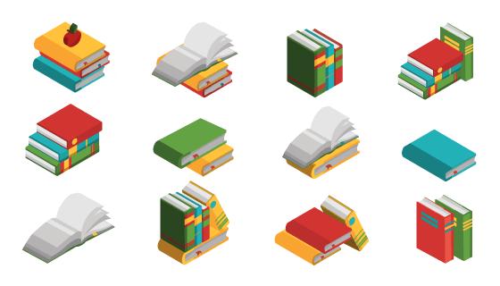 各种各样的图书图标矢量素材(EPS/PNG)