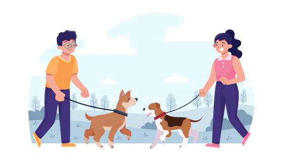 户外遛狗的年轻男女矢量素材(AI/EPS)