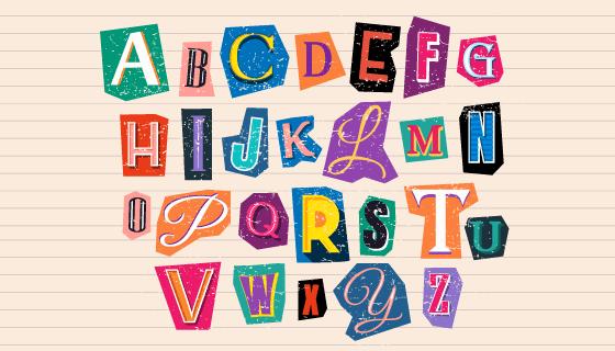 便签上的26个英文字母矢量素材(AI/EPS)