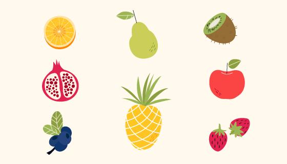 八种扁平风格的水果矢量素材(AI/EPS/PNG)