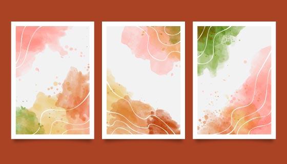 三张抽象水彩风格封面矢量素材(AI/EPS)