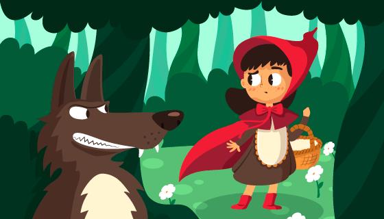 小红帽和大灰狼矢量素材(AI/EPS)