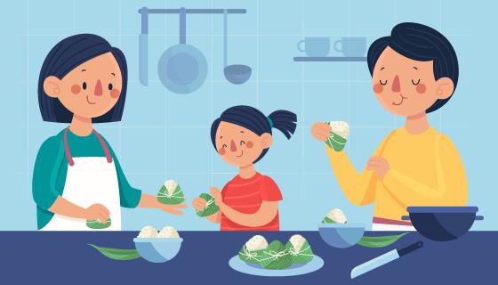 一家人开心包粽子插画矢量素材(AI/EPS)