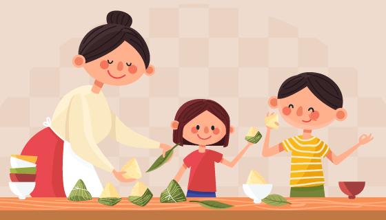 一家人开心吃粽子插画矢量素材(AI/EPS)