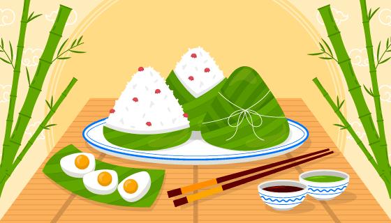 美味粽子设计端午节背景矢量素材(AI/EPS)