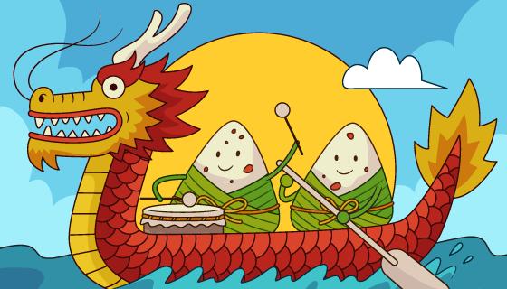 手绘可爱的龙舟和粽子端午节背景矢量素材(AI/EPS)